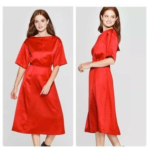 Boat Neck A-line Midi Dress Red Women's Large NEW